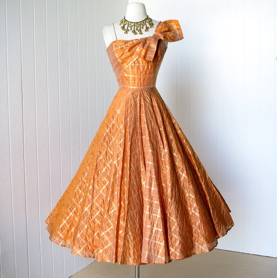 vintage 1950's dress ...stunning FRANK STARR ORIGINAL tangerine organza w/gold asymmetrical bodice full circle skirt party dress