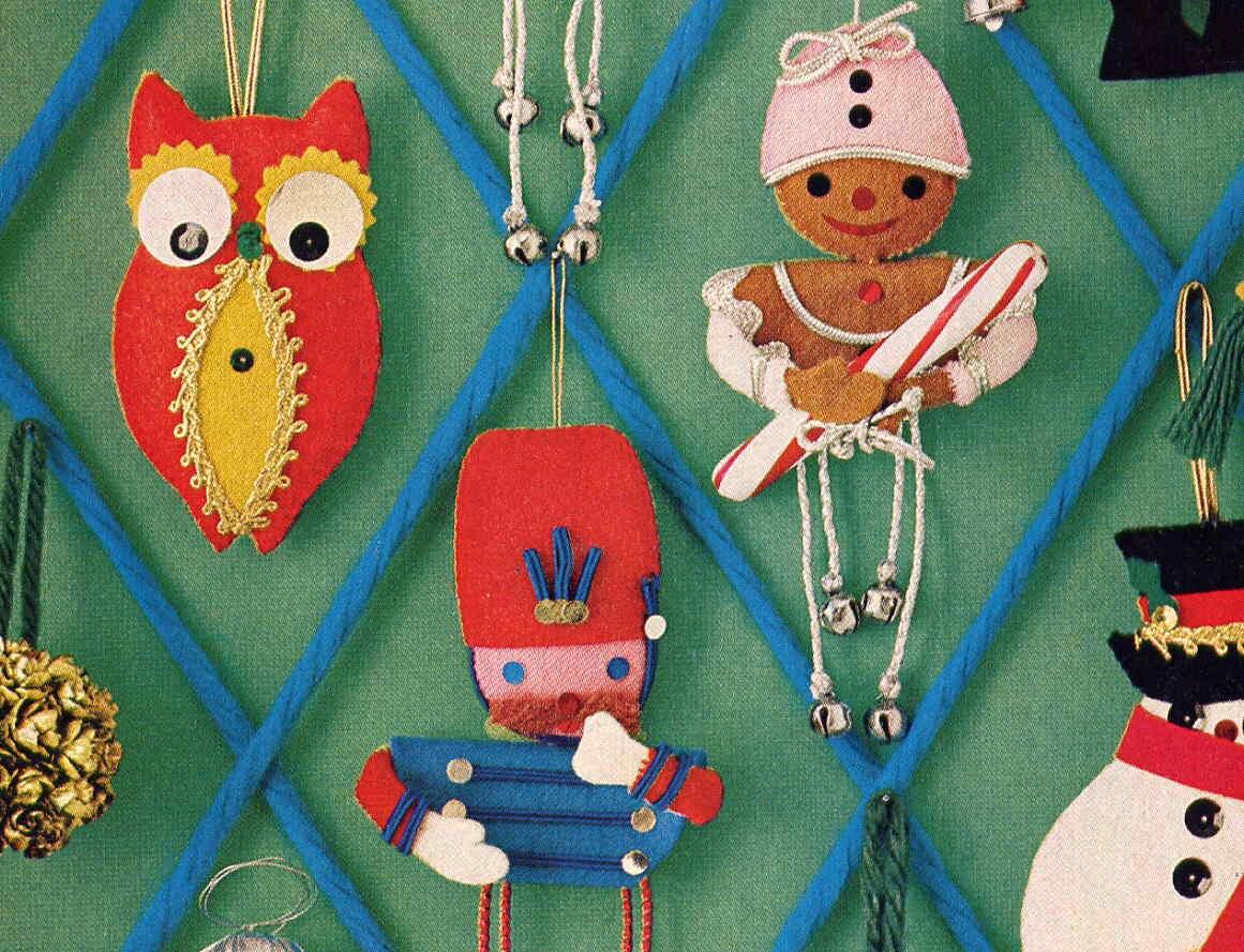 vintage felt christmas ornaments sewing pattern owls poodle
