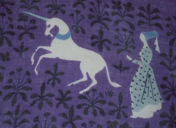 Vintage TAMMIS KEEFE Hanky Medeival Castles Ladies & Unicorns
