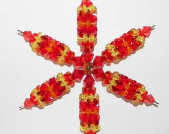 Snowflake Suncatcher Ornament Plastic Windspinner in Red and Yellow Autumn or Spring Tones Ornament   #14