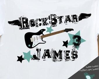 Birthday boy personalized guitar rockstar t-shirt
