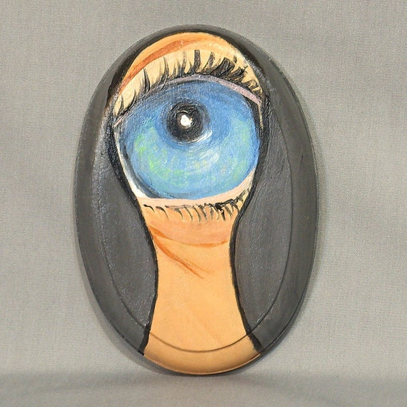 blue eye painting, eye looking through a keyhole painting on wood