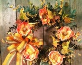 Poppy Fall Thanksgiving Wreath - Orange with Berries - marigoldsdesigns