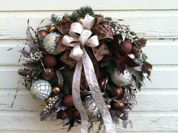Christmas Wreath for Door - Bronze Ornaments