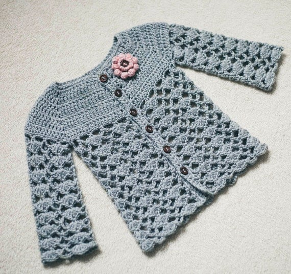 Crochet Cardigan PATTERN (only pdf file) - Sweet Little Cardigan (sizes 0-6,6-12,1-2,3-4)