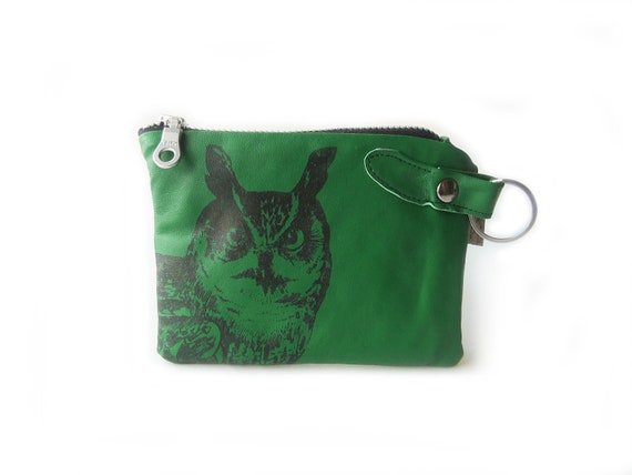 leather wallet green rabbit Custom order for Yvonnevanhout