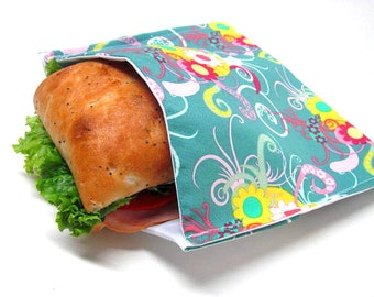 Reusable Sandwich Bag, Juicy Florals, Large Size, Lunch Sack, Lunch Kit, Lunch Bag, Food Storage, Modern, Ready to Ship