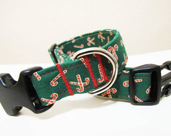 Merry Christmas Candy Cane Dog Collar - Size M