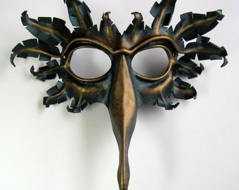 Bird mask in dark metallic green and antique gold, hand-molded leather, peacock, raven