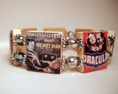 MONSTER Bracelet / SCRABBLE Art / Classic Frankenstein / Dracula / Halloween Jewelry