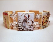 EASTER Bracelet / SCRABBLE Jewelry / Upcycled Handmade Unusual Gifts / Rabbit / Bunny / Chick
