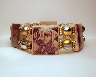 GREAT DANE SCRABBLE Bracelet / Natural Ear / Uncropped / Handmade Jewelry / Dog Lover Gift