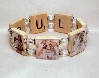 BULLDOG GIFT SCRABBLE Bracelet / Upcycled Art / Handmade Dog Jewelry / Unusual Gifts - 2