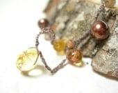 Crocheted wrap bracelet autumn sunset citrine golden honey pearls vintage trade beads