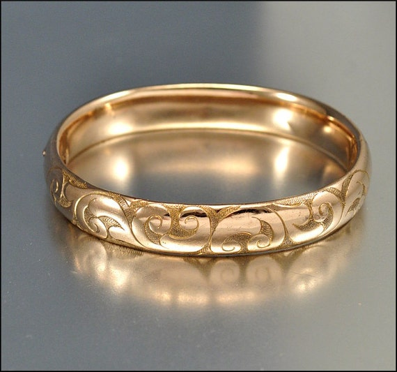 Victorian Gold Bracelet Bangle Engraved Scroll Antique 1800s Jewelry