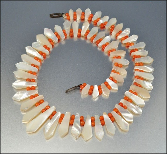 Victorian Necklace Antique Jewelry Coral Bead Mother of Pearl Bib Vintage Jewelry 1870s