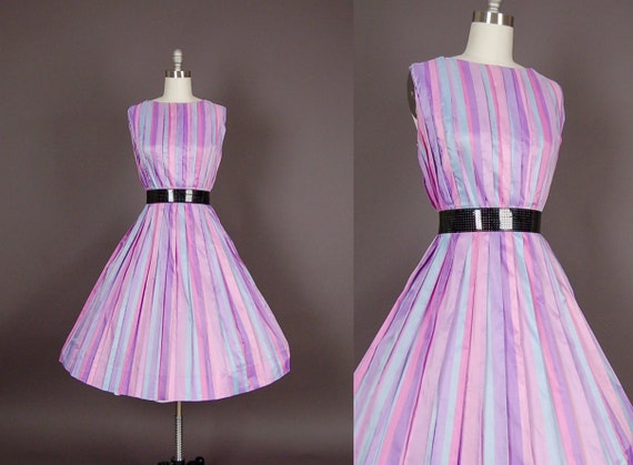 vintage 1950s dress 50s dress full skirt striped pastel party plus size