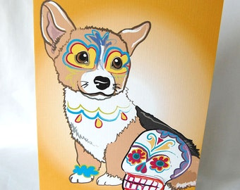 Muertos Corgi Greeting Card