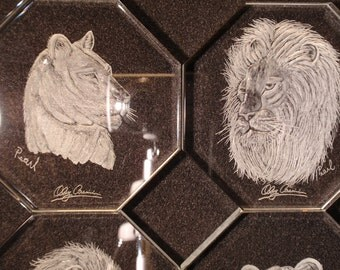 Carved Glass, Crystal Coasters, African Lion, Lioness, Wedding gift, Housewarming, Living room, King of the jungle, Safari, Pride, Set of 4