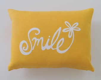 Pillow Cover. Cushion Cover. Smile Flower - 12 x 16 inches by Sweetnature Designs - Choose your fabric and ink color - Accent Pillow