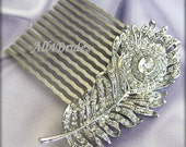 Peacock Feather Bridal Comb,  clear Swarovski crystals rhinestone hair comb, Silver tone