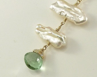 Green Fluorite BIWA Pearl Necklace 14K gold filled Gemstone Handmade Wedding Christmas Jewelry