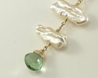 Green Fluorite BIWA Pearl Necklace 14K gold filled Gemstone Handmade Wedding Christmas Jewelry