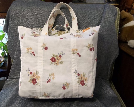 Cotton Shopping Tote Bag, Fall Flowers on Cream Print