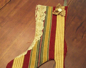 Gold, Burgandy and Green Striped with Lace Victorian Christmas Stocking