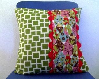 Decorative Throw Pillow Cover, Green Geometric, Woodland Print 16 x 16