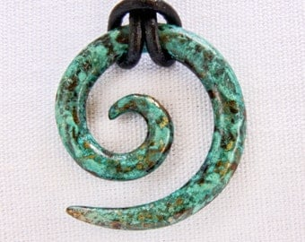 Koru Tribal Pendant in blue Caribbean with custom length and lobster clasp