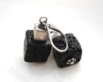 Black Lava Cube Earrings, Lava Earrings,Lava Rock Earrings, Sterling Silver Earrings