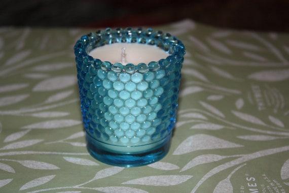 Blue Hobnail Unscented Votive Candle