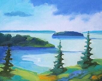 Maine Coastal Landscape - Giclee Print