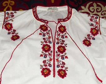 Vintage Hand Cross Stitched Peasant Blouse