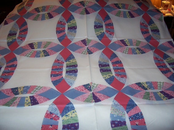 Double Wedding Ring Cheater Quilt Cotton Fabric Over 2