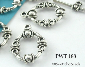 17mm Decorative Oval Toggle Clasp Pewter Antiqued Silver (PWT 188) 4 sets BlueEchoBeads