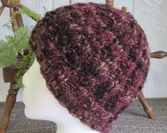 Handspun Cable Beanie. Mens Beanie. Womens Beanie. Handspun Yarn. Hand Knit Hat. Polworth Wool. Mulberry Chocolate Mocha. African Violets.
