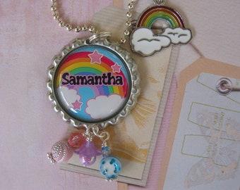 Personalized Rainbow Bottle cap Pendant, necklace