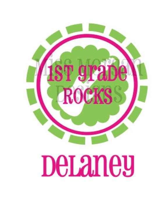 Personalized School First Grade Rocks Iron On By Missmorgan
