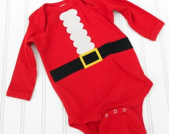 READY TO SHIP Great Baby Shower Gift Santa Claus Long Sleeve bodysuit sewn applique Great Photo Prop for boys or girls