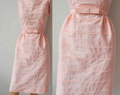 50s Bobby Brooks Lace Sleeveless Pink dress, Bow Tie Belt, Light pink Lace