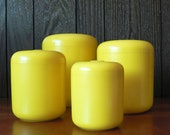 vintage 1960s 70s yellow melamine canister set of 4 / mod kitchen storage/ Trend Pacific Los Angeles design Don Dame
