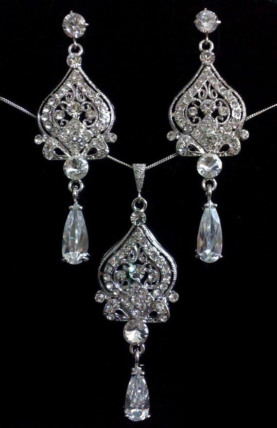 Chandelier Bridal Jewelry Set, Crystal Bridal Earrings, Teardrop Bridal Necklace, Victorian Wedding Jewelry, Cz Drop Earrings, ALLANAH