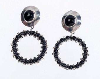 Big Navajo Hoop Earrings - Sunwest Silver - 80s Sterling Onyx Clip Earrings - Best Buy