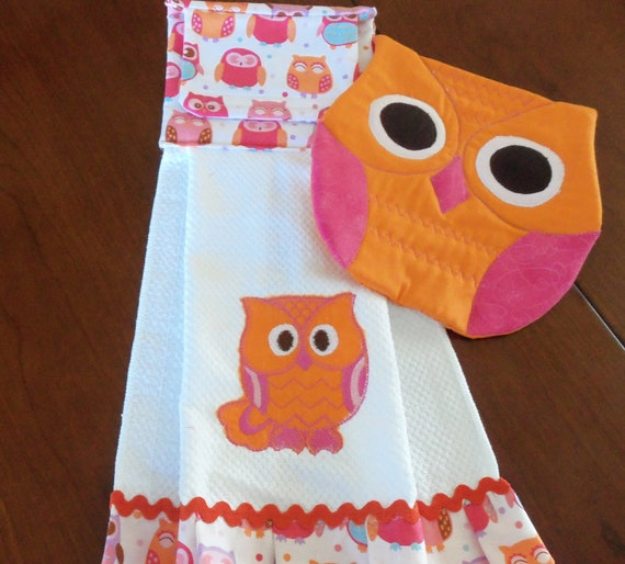 Owl quilted pink and orange kitchen set for Quilted kitchen set