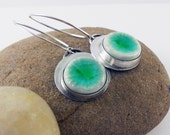 Sterling silver Dangle earrings with  green ceramic cabochon - Mint Garden -