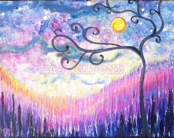 Abstract tree art, original painting 11x14 Moon and stars painting