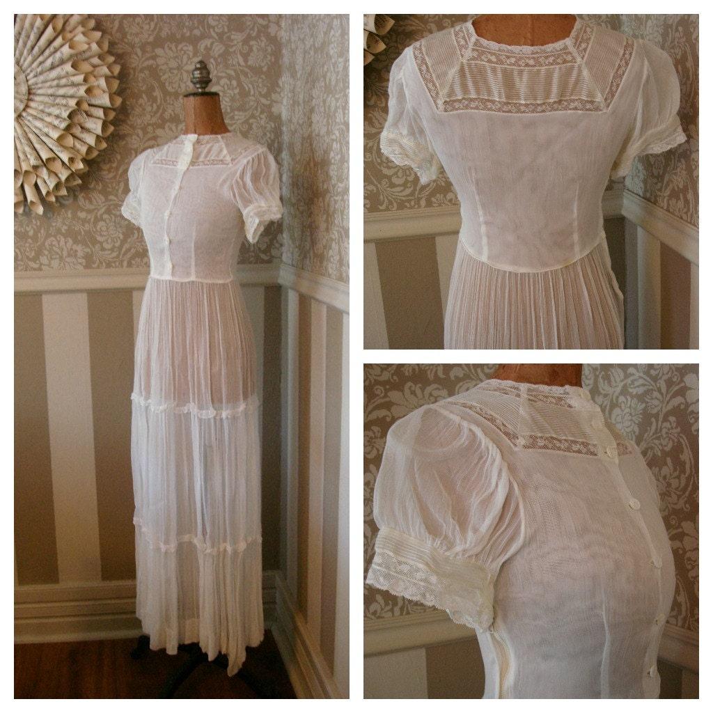 Vintage 60s White Victorian Style Wedding Dress by stellaranae