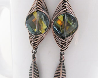 Herringbone wrapped Tabac Swarovski Coins with Long Antique Copper Leaves
